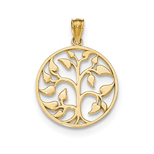 14k Yellow Gold Polished Cut-Out Tree of Life Round Pendant (18mm diameter)