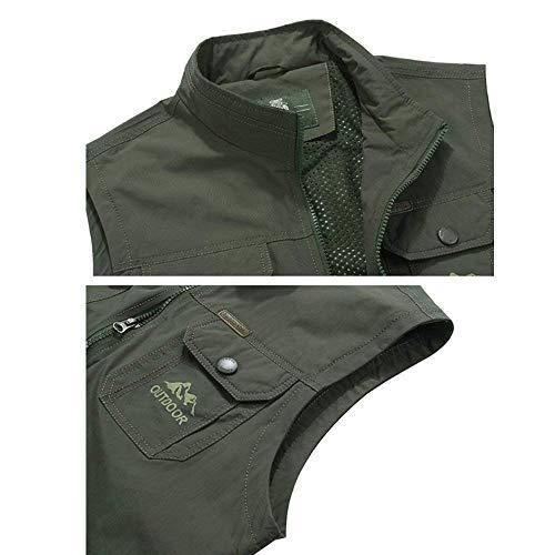 E Essenziale Vest Moda Coulisse Zipper Coat Libero Mens Giallo Primavera Orlo Tempo Maglia Con Giacca Multi Outdoor tasca Sport Gilet Autunno 0dnqUp