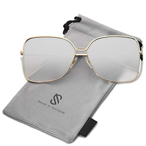 SOJOS Fashion Designer Square Sunglasses for Women Flat Mirrored Lens SJ1082 with Gold Frame/Gradient Silver Mirrored ()