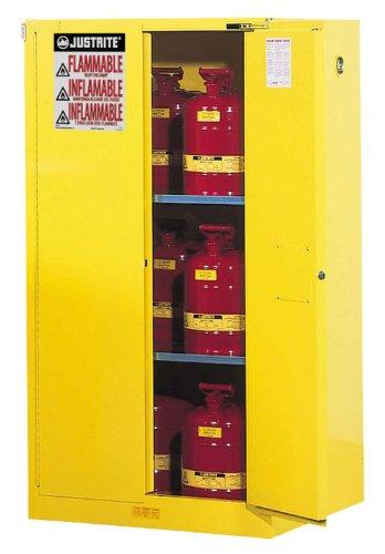 Justrite Safety Storage Cabinet (Justrite 896020 Sure-Grip EX Flammable Safety Cabinet, 2 Door, Self Closing, Dimensions (H x W x D): 65 x 34 x 34 inch (1651x 864 x 864 mm); 60 gal. (227L))