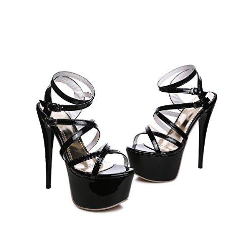 YE Damen Extreme High Heels Plateau Lack Sandalen mit Riemchen Stiletto 16cm Absatz Pumps Schuhe Schwarz