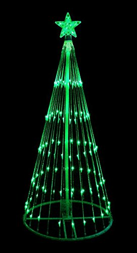 LB International 93838GN-MO 6' Green LED Show Cone Christmas Tree Lighted Yard Art Decoration