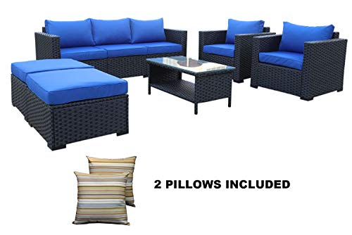 Outdoor PE Wicker Rattan Sofa -6 Pcs Patio Garden Sectional Conversation Cushioned Seat Couch...