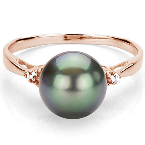 RoseGold Plated Silver 1/100cttw Diamond on Each Side 8-8.5mm Black Tahitian Cultured Pearl Ring, Size5.5