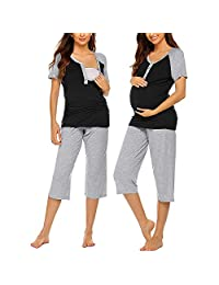 Maternity Wear Short-Sleeved Contrast Button Breastfeeding Top, Adjustable Cropped Trousers, Breastfeeding Pajamas Set,Black,M