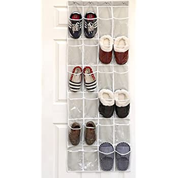 24 Pockets - SimpleHouseware Crystal Clear Over The Door Hanging Shoe Organizer, Gray (64 x 19)