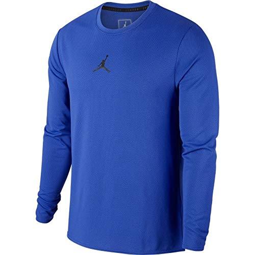 Graphic Tee Mens Classic Jordan (NIKE Jordan Ultimate Flight Performance Basketball Long Sleeve Shirt 899373 010 405 (Hyper Royal/Black, l))