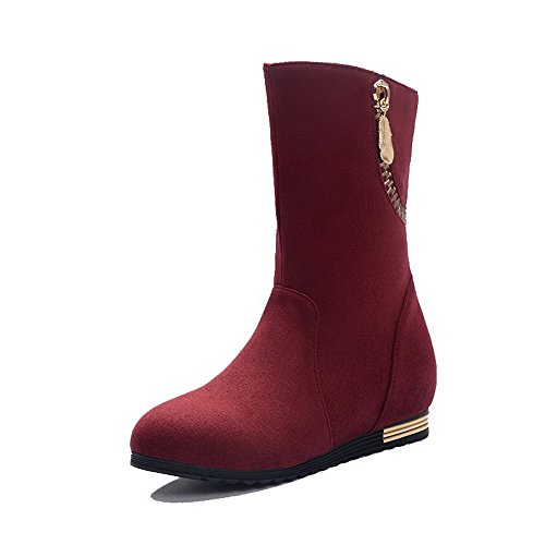 Heels on Closed Stiefeletten Pull Niedrige Frosted Damen Low Runde Allhqfashion Claret Toe Xt8xg8
