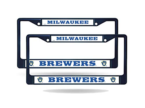 Rico Milwaukee Brewers MLB Navy (Set of 2) Painted Chrome Metal License Plate Frames