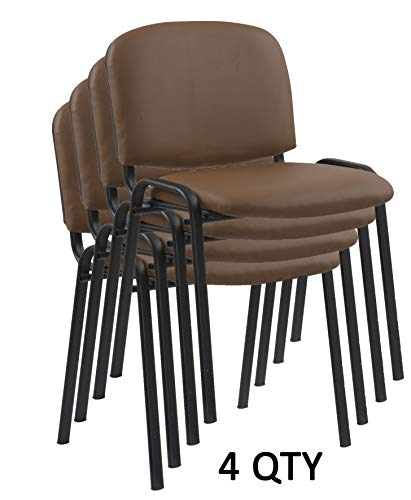 Modern Stacking Chairs in Tan/Camel PU Leather - for Office Training Boardrooms Canteens Community Centers and Home | Pack of - Chair High Sleigh