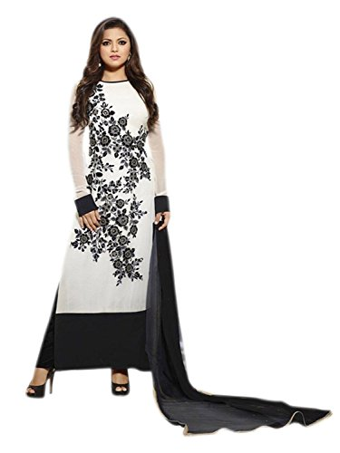 Look N Buy women's white Georgette Unstitched Dress materials