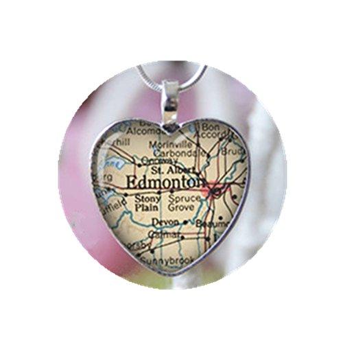 Edmonton Alberta Canada heart shape vintage map necklace. Location gift pendant.