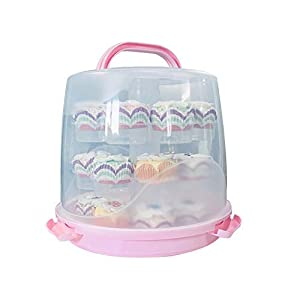 Best Epic Trends 41ND9yiqkdL._SS300_ 24 Cupcake Carrier Cake Carrier Holder Portable 3 Tier Cupcake Transporter Box Muffin Container with Locking Lid and…