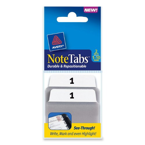 Avery NoteTabs Inches Numbers 16301