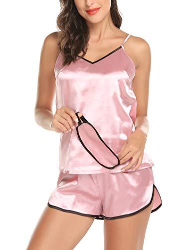 Romanstii Silk Satin Pajamas Sleepwear Set Lingerie Soft Nightwear Short PJ Set