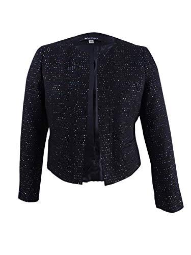 Nine West Women's Sequin Tweed Jacket, Black/Multi, 16