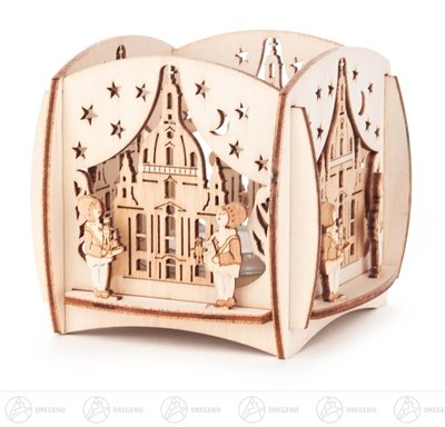 Tealight owner Dresden woman church and Bush decoration width x height of x depth 8.5 cmx8 cmx8,5 cm ore mountains tealight stand Candle holder