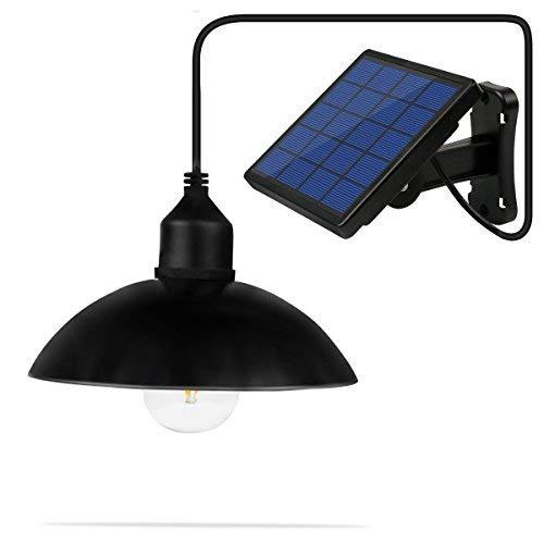 Ningzexin E27 - Lámpara de techo con luz LED para exteriores (luz de cobertizo, con panel solar, para jardín, patio,...