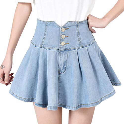 - Flygo Women's High Waist Button Front Pleated Mini Short Denim Skirt (X-Large, Light Blue)