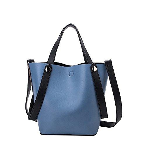Melie Bianco Bailey Shoulder Bag Vegan Leather Tote Handbag (Bailey Blue/Taupe)
