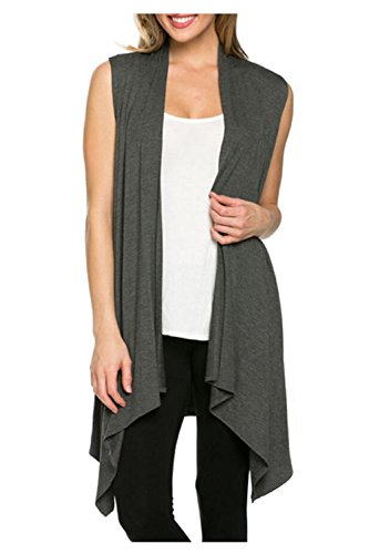 Kumer Women's Lightweight Sleeveless Asymmetric Hem Open Front Drape Cardigan Casual Sweater Vest,Gray,Large by Kumer