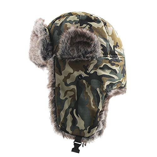 FEDULK Winter Trapper Warm Hat Russian Style Camouflage Earmuffs Windproof Mask for Men and Women