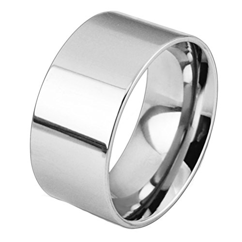 (Fashion Month Men Women 10mm Wide Stainless Steel Ring Big Cool Band High Polished Flat Top Comfort Fit Silver Size 13)