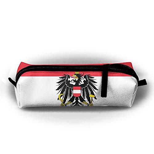 EWFBVa Durable Zipper Stationery Bag Austria State Flag Big Capacity Pencil Case