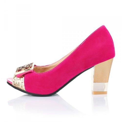 Chaussures De Carol Nouvelles Femmes Chunky Talon Peep Toe Pompes Chaussures Rose Rouge