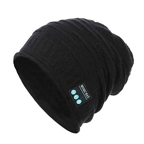 PRETTYGARDEN Unisex Wireless Slouchy Headphone Beanie Hat, Music Winter Warm Knit Hat Cap w Built in Mic and Wireless Headset ()
