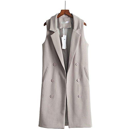 Caseminsto Black Long Vest Women 2017 Fashion Elegant Office Suits Grey M by Caseminsto (Image #1)