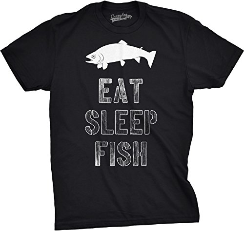 Crazy Dog T-Shirts Mens Eat Sleep Fish T Shirt - Funny Vintage Fishing Outdoors Tee (Black) L Fishing Dog