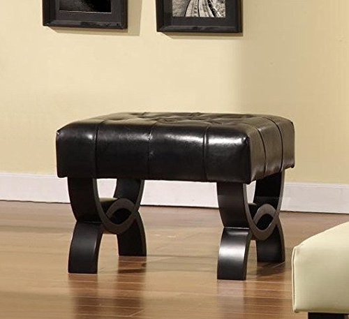 Armen Living LC5012BEBCBL24 Central Ottoman in Black Bonded Leather and Black Wood Finish