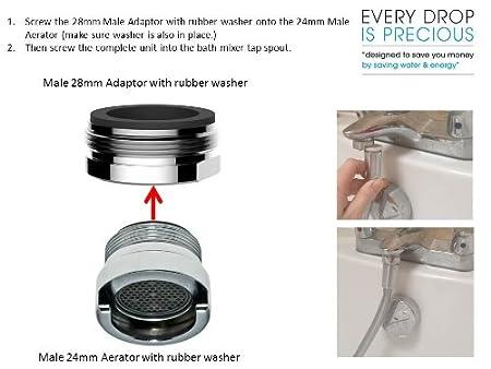 Mesures 28/mm et 24/ compatible avec la plupart des m/élangeurs de bain mais /également Certains lavabo et Robinets de cuisine trop Best Way /à attacher /à un Flexible de douche /à un robinet m/élangeur rond