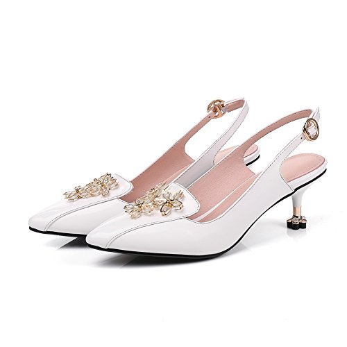 BalaMasa Womens Sandals Mid-Heel Studded Urethane Sandals ASL04903 White X4YcuEme6