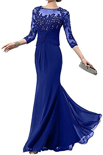 onlinedress Women's Scoop-Neck Solid Three-Quarter-Sleeve Long Gown Dress, Royal Blue, 18 Plus