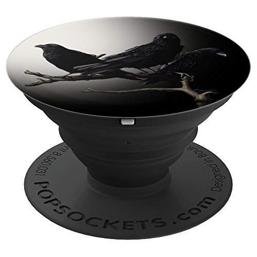 Ravens Birds Bird of Prey Spooky Halloween Moonlight - PopSockets Grip and Stand for Phones and Tablets -