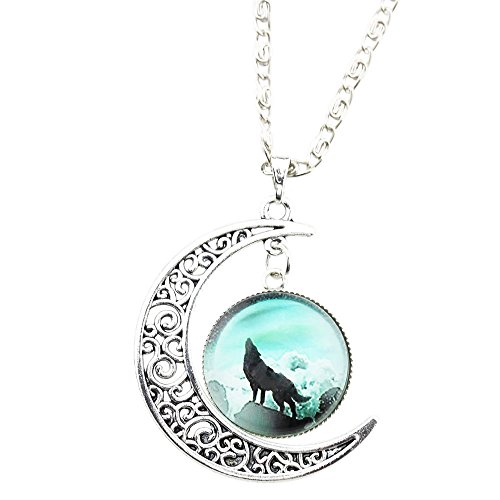 [FOY-MALL Novelty Wolf Pattern Crescent Moon and Time Gem Pendant Necklace XL1207] (Lobster Costume Pattern)