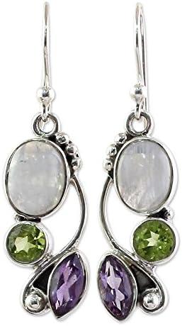 NOVICA Amethyst Moonstone Sterling Earrings product image