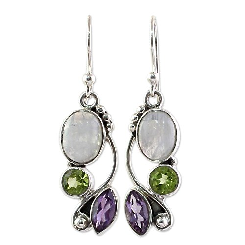 - NOVICA Peridot Amethyst Rainbow Moonstone .925 Sterling Silver Dangle Earrings, Natural Glamour'