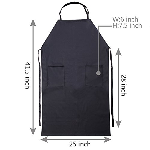 Adjustable Bib Waterproof Apron with 2 Pockets,Long Cooking Aprons for Men Women Chef, Black Commercial Restaurant and Home Kitchen Apron By VWELL by VWELL (Image #6)
