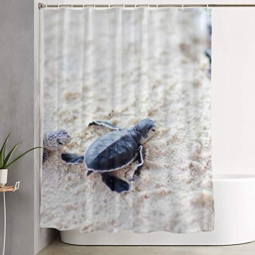 NiYoung Stalls and Bathtubs Shower Curtains with Rustproof Grommets Holes Spa Curtain - Extra Long (Baby Sea Turtle)