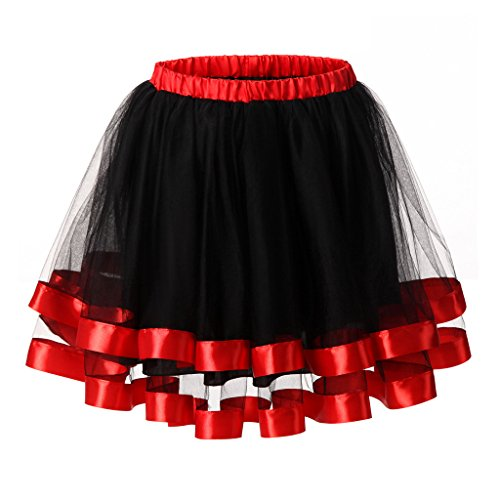 Ellames Women's 1950s Vintage Tutu Petticoat Skirt Prom Evening Occasion Accessory Black and Red (Womens Red Tutu Skirt)
