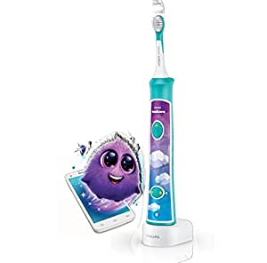 Philips Sonicare Built-in Bluetooth Sonic Electric Toothbrush for Kids with Interactive Coaching App, Aqua, HX6321/03
