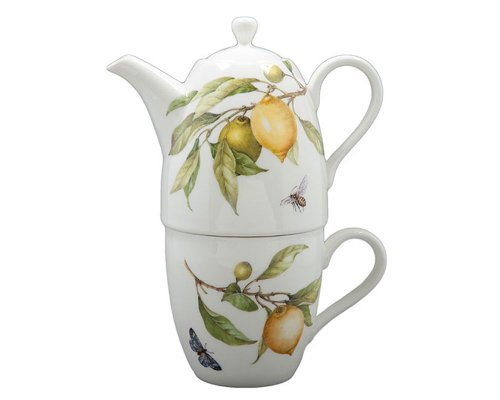 Gracie China Lemon 3-Piece Porcelain Tea For One Set, 9-Ounce Teapot Stacked