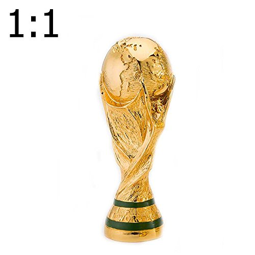 Soccer Trophy Trophy - H&W 1 :1 Electroplate Golden Jules Rimet Cup Replica, 2018 FIFA World Cup, Soccer Trophy, 14inch/36cm Tall, Model Statue, for Great Soccer Fans(HH9-D1)