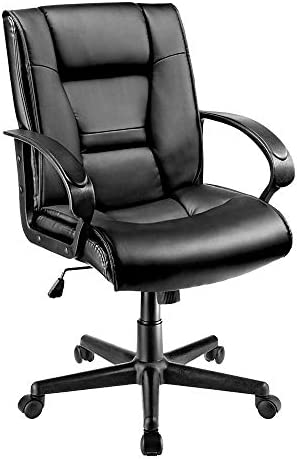 Brenton Studio Ruzzi Vinyl Mid-Back Chair, 41-3 4 H x 24-1 2 W x 27-1 6 D, Black