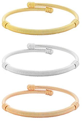 Stainless Steel Tri-color Bangle Bracelets for Women 3-piece Set - 1