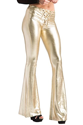 COCOLEGGINGS Ladies Faux Leather Lace Up Leggings Bootleg Solid Color Gold - Down Roll Bootleg