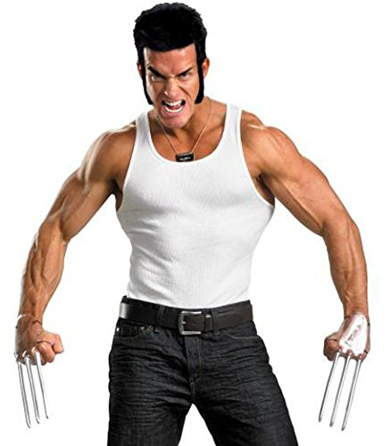 Wolverine Costumes Accessories - Disguise Marvel The Wolverine Adult Costume Kit with Accessories, Brown/Silver, One Size Adult